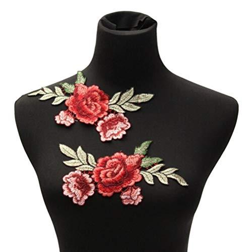 Oulensy 2st Rose Blumen-blumenkragen-Patch Für Kleidung Jeans Garment Patches-Abzeichen Bestickte Stoff Aufkleber