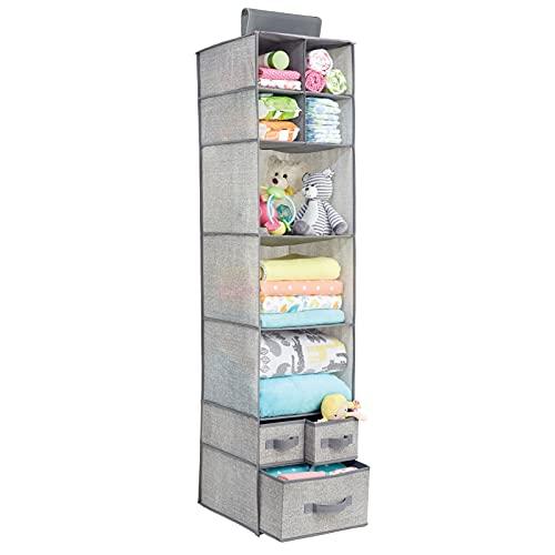 mDesign – Organizador de ropa para armarios con 7 estantes y 3 cajones – Colgador de armario para ropa, zapatos, toallas y accesorios para bebés – Organizador de tela para colgar – Gris