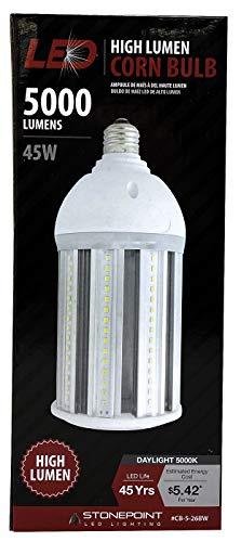StonePoint LED Lighting 5000 Lumen Corn Bulb High Lumen LED Light Bulb – Workshop, Garage, and Barn Lighting (45 Watts, 5000K)