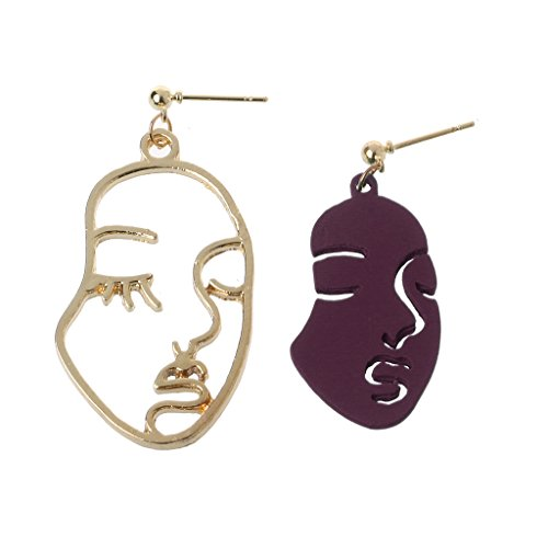 QIANGU Ear stud, 4 Pairs Abstract Art Drop Earring Face Shape Statement Dangle Earrings For Women