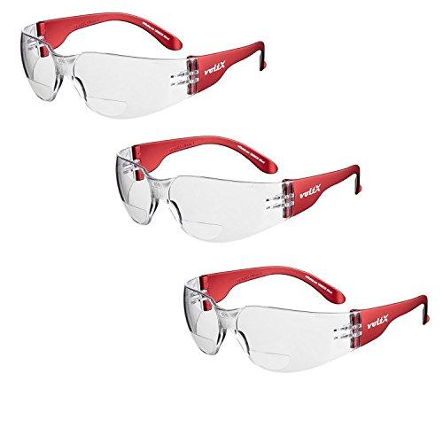 3 x voltX 'Grafter' BIFOKALE (KLAR +1.5 Dioptrie) Leichtgewichts Industrie Lesen Schutzbrille, CE EN166F Zertifiziert/Sportbrille für Radler – Safety Bifocal Reading Glasses
