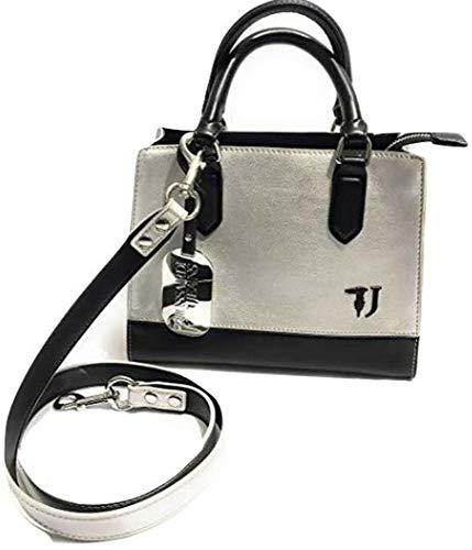 Trussardi BS19TJ48 Jeans sac à main/bandoulière T-Easy City Tote SM Simili-cuir argenté/noir pour femme