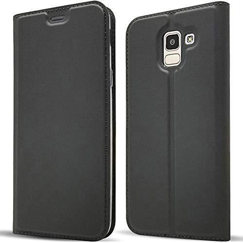 NALIA Funda Flip-Case Compatible con Samsung Galaxy J6 2018, Carcasa con Tapa Book-Cover Movil Libro Verticale, Cubierta Delgado Cuero Sintético Magnético Etui Protectora Bumper, Color:Negro