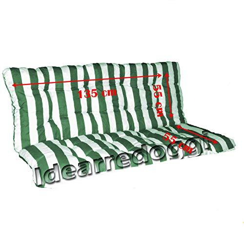Cuscino per Dondolo truciolo 3 Posti 135 Cm Bianco/Verde
