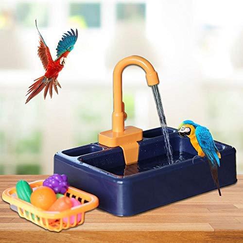 Vogel-Badewanne Für Papageien, Multifunktions-Vogelbadestation Mit Wasserhahnfutterbehälter, Vogeldusche Badewanne Feeder Schüssel Für Haustier Kleiner Mittlerer Vogel, Großraumbadehaus