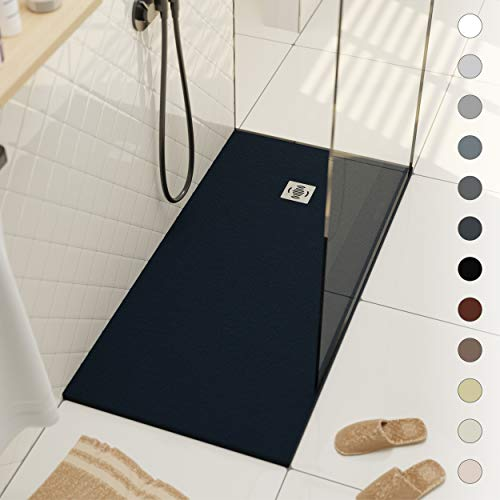 Shower Tray 900 x 1700 Stone Resin Ebro - Anti Slip and Low Profile - Matte Finish and Slate Effect - All Sizes Available - Shower Waste and Grid Included - Anthracite RAL 7016