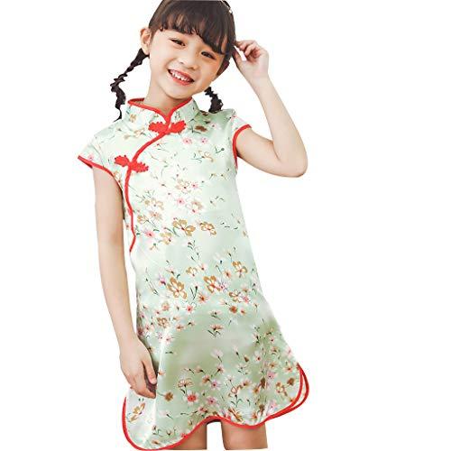 OHQ Kleinkind Baby Mädchen Blumen Drucken Kleid Chinesischer Stil Cheongsam Kurzarm Partykleid Urlaub Prinzessin Kleidung Outfit