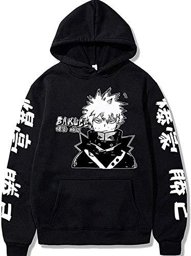 JMSUN Anime Hero Academia Bakugo Hoodie Sweatshirts My Men/Women Pullover Harajuku Tracksui Black