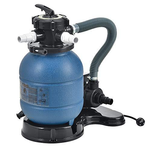 pro.tec Sandfilteranlage Blau - 300mm 10 m³/h 5-Wege Ventil 400 W Poolfilter mit Pumpe Poolfilteranlage mit Druckanzeige