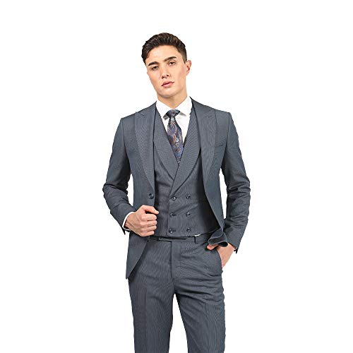 Classic Summer Blue 3-Piece Slim Fit Suit for Men