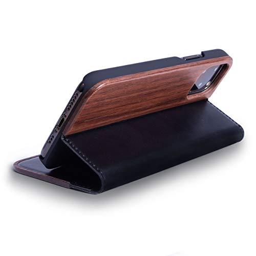 WOLA Klapphülle für iPhone 12 Mini Holz Hülle Forrest Holzhülle Case Walnuss