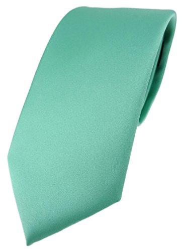 TigerTie Cravate design unie en différentes couleurs – Largeur de la cravate 7,5 cm, Vert menthe., Taille Unique