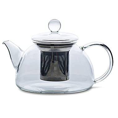 Redbird Artisan Small Glass Teapot with Glass Lid - Stainless Steel Tea Infuser Filter Basket - Microwave and Stovetop Safe Glass Tea Pot 600 mL/20 oz