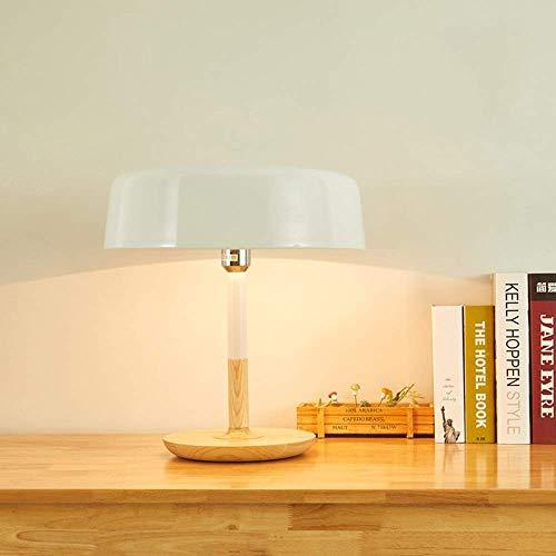 Lámpara de escritorio l.w.s Lámpara de mesa LED moderna y simple de madera maciza, seta blanca, hogar creativo, sala de estar, dormitorio, estudio de cabecera, hotel, club, decoración, lámpara de lect