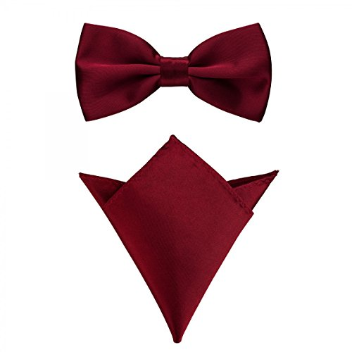 Rusty Bob - Fliege mit Einstecktuch in verschiedenen Farben (bis 48 cm Halsumfang) - zur Konfirmation, zum Anzug, zum Smoking - im 2er-Set - Dunkelrot-Weinrot