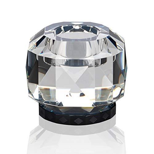 Reflections Copenhagen - Texas - Teelichtständer, Kerzenleuchter, Kerzenständer - Kristallglas - Klar, Schwarz - (LxBxH): 9 x 9 x 7,8 cm