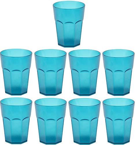 Design 9x Kunststoffbecher Becher Plastikbecher Trink-Gläser Mehrweg Fassungsvermögen 0,4l in der Farbe Türkis