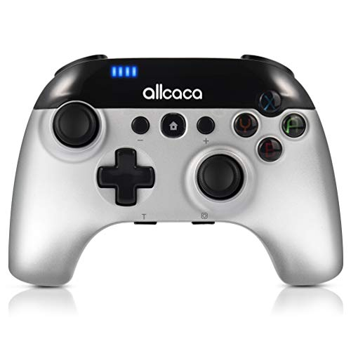 allcaca Gamepad für Nintendo Switch Bluetooth Wireless Pro Controller mit 6-Achsen Gyrosko, Dual Shock, Turbo Funktionen, Silber