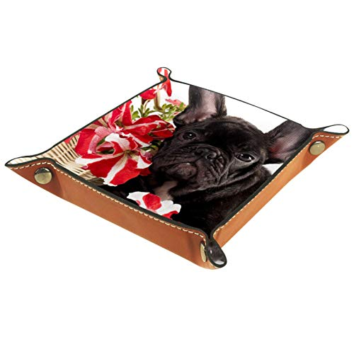 rodde Bandeja de Valet Cuero para Hombres - Ramo de Flores de Bulldog Francés - Caja de Almacenamiento Escritorio o Aparador Organizador,Captura para Llaves,Teléfono,Billetera,Moneda