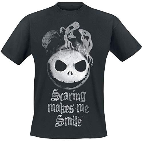 The Nightmare Before Christmas Pesadilla Antes De Navidad Jack - Scaring Makes Me Smile Hombre Camiseta Negro XXL
