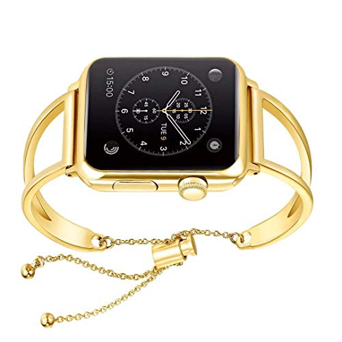 WONMILLE Bracelet for Apple Watch Band 42mm, Classy Stainless Steel Jewelry Bangle for iWatch Bands Strap Wristbands Unique Fancy Style for Women Girls with Pendant and Tassel (Gold Colored-42mm)