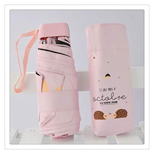 DFSDG Dibujos Animados Paraguas Lluvia Mujeres Plegables Paraguas Hembra Soleado sombrilla Encantador Mini Bolsillo Paraguas (Color : Pink)