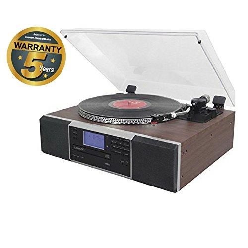 Lauson CL142 - Tocadiscos, 2 (Stereo), bluetooth función encoding, CD, radio FM, USB, mp3 con altavoces frontales incorporados, giradiscos retro, vintage de madera