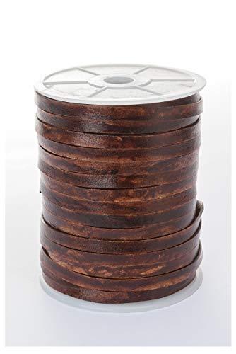 esnado - Lederband, Lederriemen Flach 7 mm x 1,5 mm (10 Meter, Antik Braun)