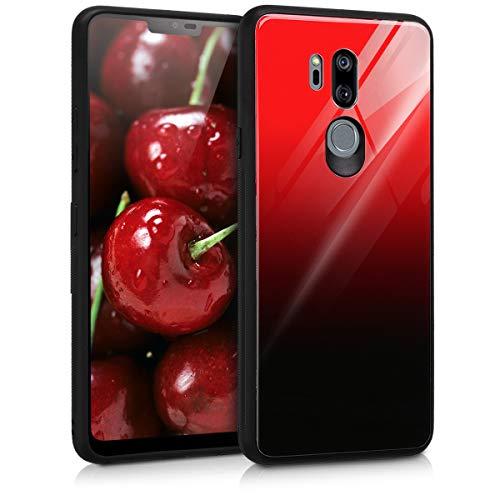 kwmobile Hülle kompatibel mit LG G7 ThinQ/Fit/One Hülle - Hartglas Backcover Handy Hülle - Glas Hardcover Zwei Farben Rot Schwarz