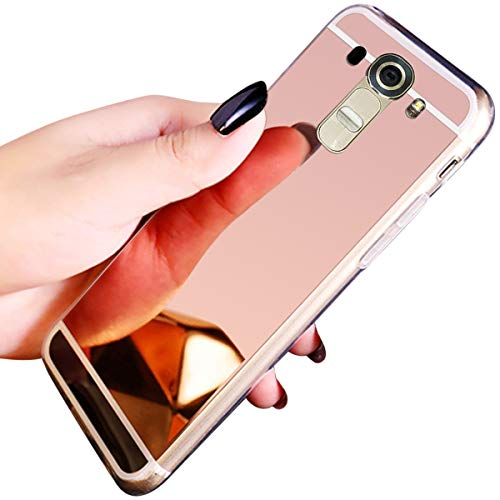 JAWSEU Compatible avec LG G4 Coque Miroir Silicone,Cristal Brillant Bling Glitter Miroir Housse de Protection Slim Souple Gel Paillettes Strass Case Femme Fille,Or Rose