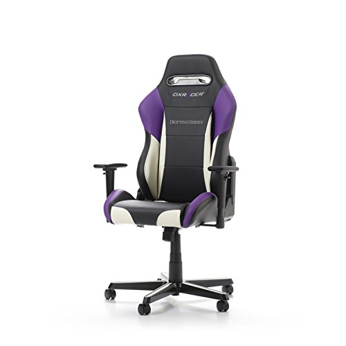 DXRacer Drifting Series OH/DM61/NWV Racing Seat Office Chair Gaming Ergonomic Adjustable Computer Chair with - Included Head and Lumbar Support Pillows (Black, White, Voilet)