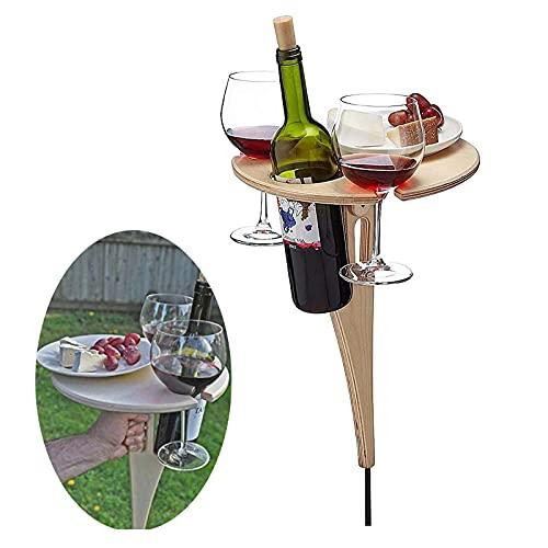 Klappbarer Weintisch im Freien, tragbarer Weintisch im Freien Klappbarer Weintisch Holz Tragbarer klappbarer Weintisch aus Holz und Champagner-Picknicktisch (B)