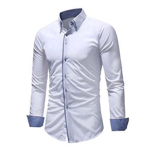 N\P Camisa de manga larga para hombre, con solapa, a cuadros, informal, para negocios, oficina, con botones