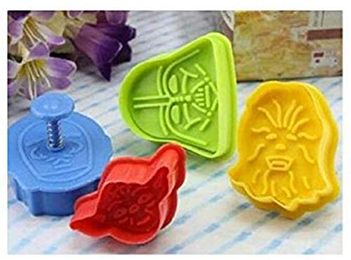 DML Set of 4 Star Wars Plunger Cookie Cutters - Darth Vader, C-3PO, Yoda and Chewbacca - Wonderful Cake Mold Decoration Tool For Baking in Kitchen - Came with linen pouch - KIT - Multi-Colour