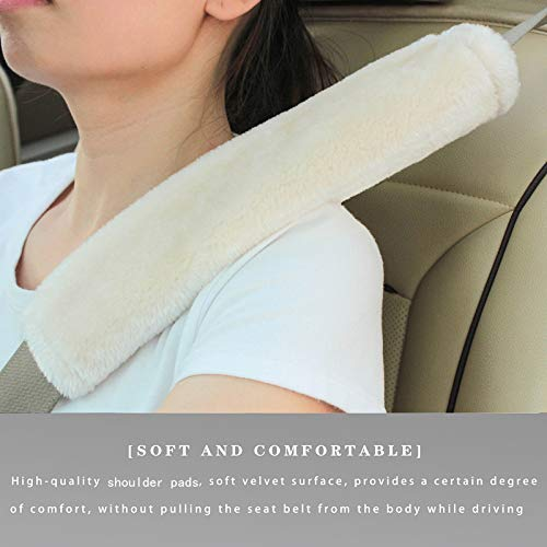 Soft Faux Sheepskin Seat Belt Shoulder Pad for a More Comfortable Driving,...