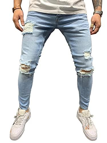 DELIMALI Pantalones vaqueros clásicos rasgados para hombre, cintura elástica, ajustados, pantalones de mezclilla desgastados, pantalones de hip hop, azul claro, 41-44.5