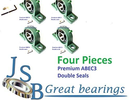 (Qty.4) Premium UCP207-20 Double Seals ABEC3 Pillow Block Bearings 1-1/4 bore UCP207 20