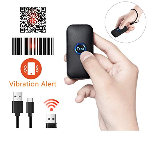 Tera Smallest Wireless Barcode Scanner 2D QR, 3 in 1 Compatible with Bluetooth Function & 2.4GHz Wireless & Wired Connection, with Vibration Alert 3d barcode scanner