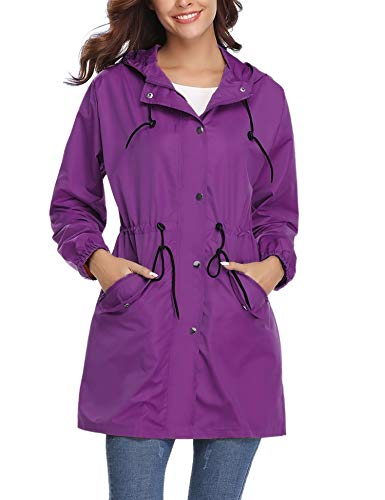 Abollria Womens Outdoor Waterproof Lightweight Windbreaker Raincoat Hooded Rain Jacket Purple