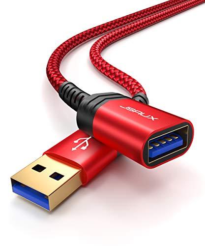 JSAUX USB Verlängerung Kabel 1M 2Stück USB 3.0 Verlängerungskabel A Stecker auf A Buchse Nylongeflecht Vergoldeten Kontakte für Kartenlesegerät,Tastatur, Maus,Drucker, Scanner,Kamera - Rot
