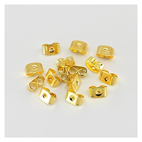 Tapones para pendientes, 200 unidades, para pendientes, pendientes y tuercas, diseño de mariposa, para hacer joyas, tapas bloqueadas (color: oro, tamaño: 3,7 mm x 5 mm)