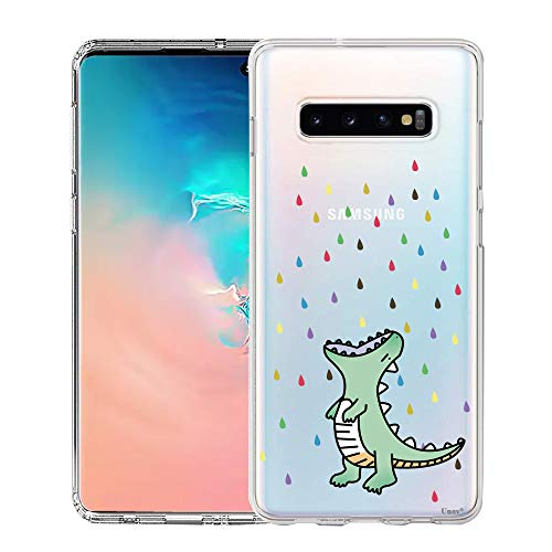 Unov Galaxy S10 Plus Case Clear with Design Soft TPU Shock Absorption Slim Embossed Pattern Protective Back Cover for Galaxy S10 Plus 6.4in (Rainbow Dinosaur)