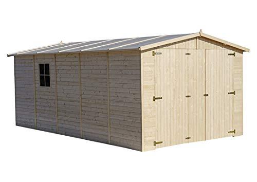 TIMBELA Holzgarage - Abstellraum mit Fenstern - H222x516x324 cm/15 m² Shiplap-Schuppen aus Naturholz - Gartenwerkstatt - Auto- und Geräteschuppen M101