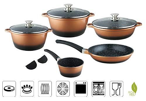 SFL 13 TLG Kochtopfset Pfannenset mit Marmor-Keramik-Antihaft-Beschichtung induktionsgeeignet Topfset Töpfe Kochtöpfe