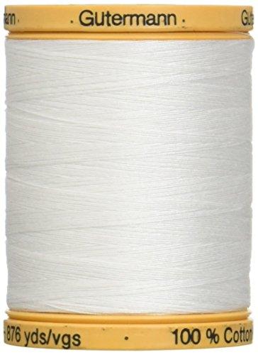 Gutermann Fil de Coton Naturel Solides, Filetage Blanc