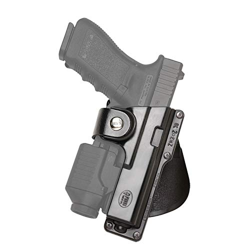 Fobus GLT17 Tactical Paddle Holster, Fits Glock 17,22,31 with Rail Mounted Laser or Light, Right Hand , Black