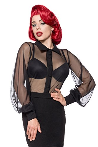 Belsira Netz-Bluse Bluse schwarz L