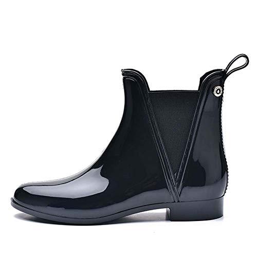 Botas de Lluvia Antideslizantes para Mujer, Zapatos Cortos de Jardín, Botines Chelsea Impermeables, Botines Elásticos Impermeables, para Uso Diario,Black 1,39