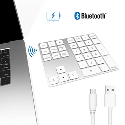 Bawanfa Teclado numérico Bluetooth, Teclado Numérico Inalámbrico Recargable 34 Teclas Entrada Datos Teclado Numérico Compatible con Windows/Android/iOS/OS