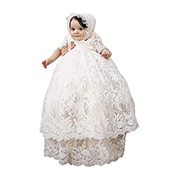 Long Ivory Christening Gown for Baby Girls Lace Baptism Dress with Bonnet 6M